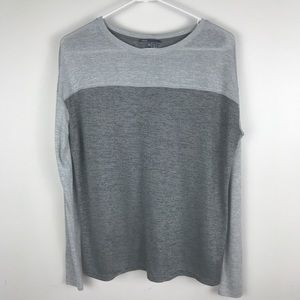 Vince Womens Gray color block oversized top XS